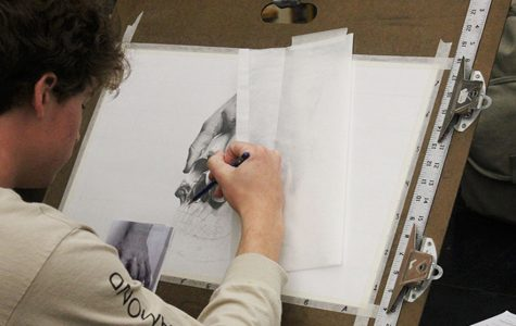 Colin Cunningham working on his latest sketch in Art.