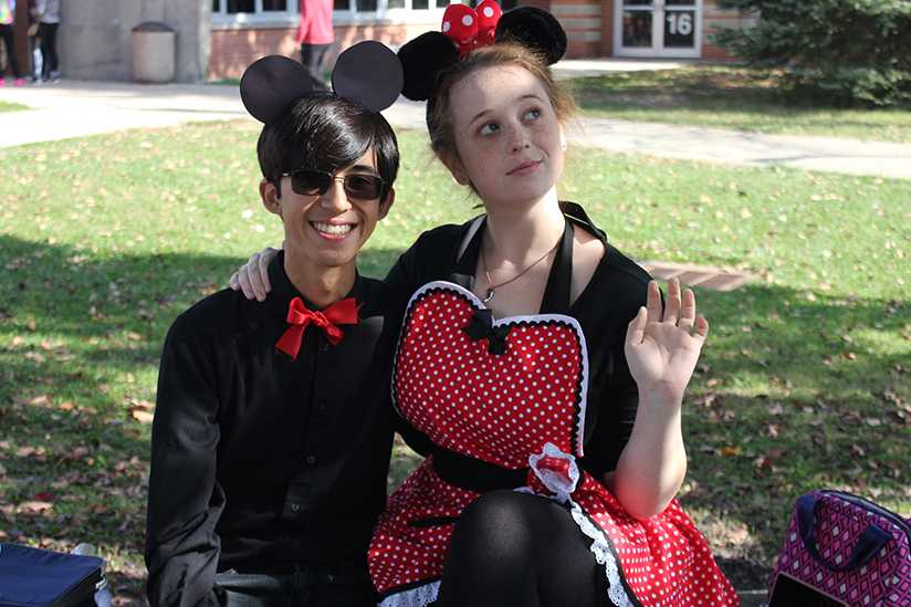 Freshman Gwendolyn Peters and Andrew Crawford dressed as Mickey and Minnie mouse.