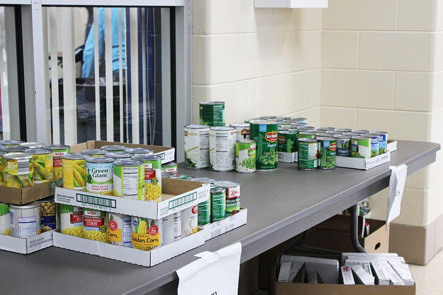 Canned goods donated for the Food Drive.