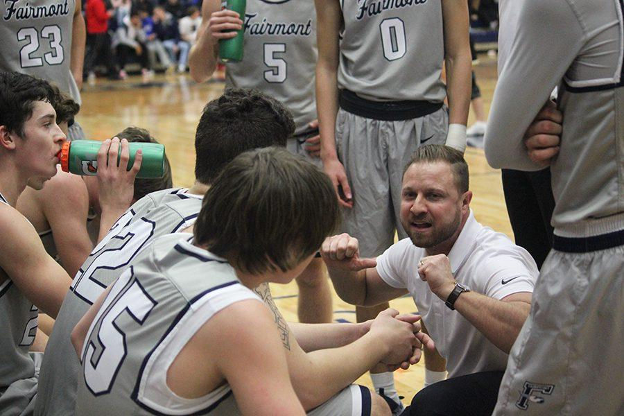 Coach Albright pumps up his players during a time out v. Sidney. The Birds defeated the Yellow Jackets 60-51.