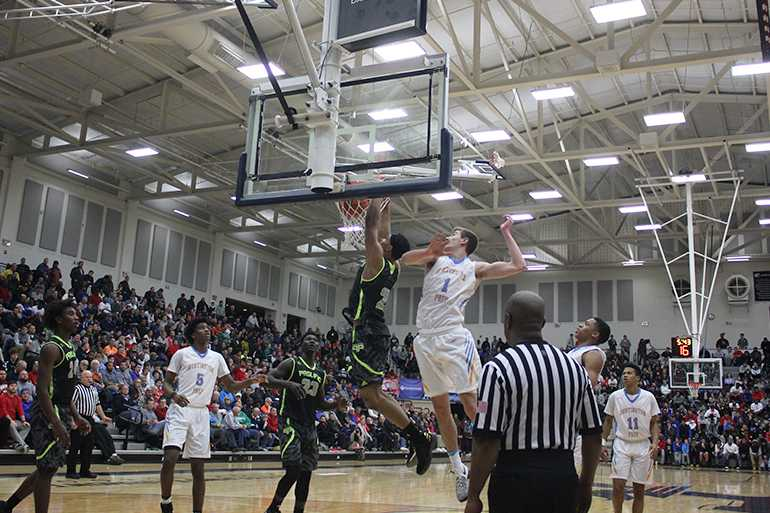 Gary Trent Jr. from Prolific Prep goes in for a dunk making athe highlight of the game.