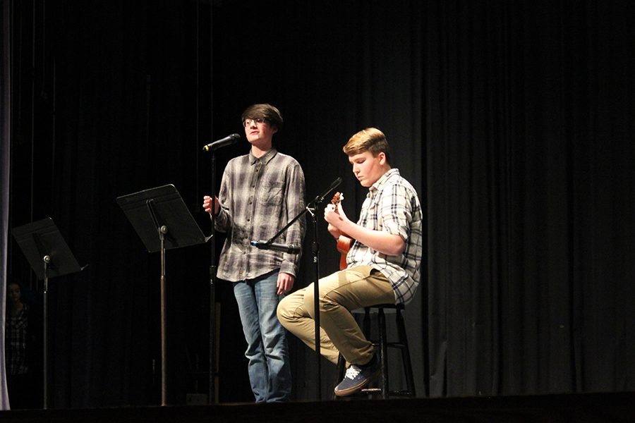 Freshman, Michael Breslin and Andrew Suddith singing a duet.