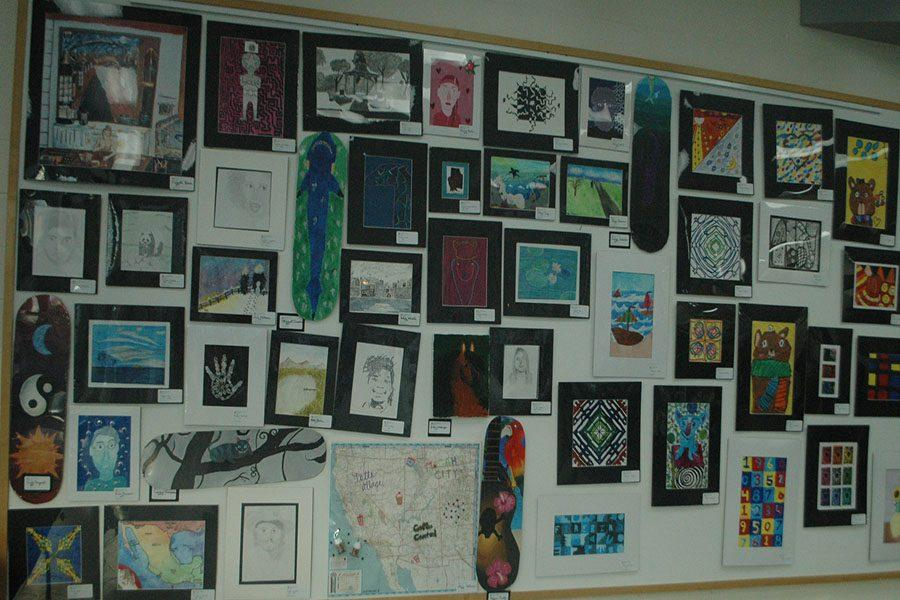 Amongst the wall shows the very unique pieces of art made by Kettering students.