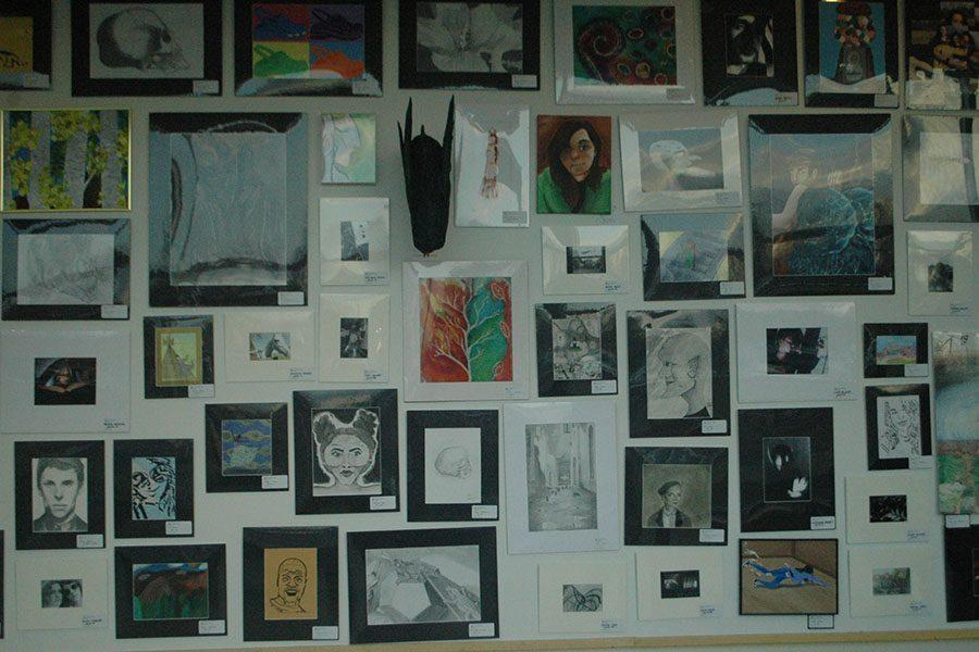 All along the walls are  stacked with different art pieces of Kettering students.