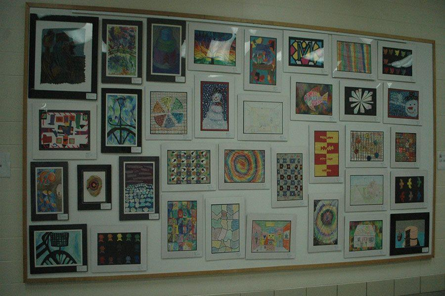 Pieces of students art cover the front walls at fairmont.