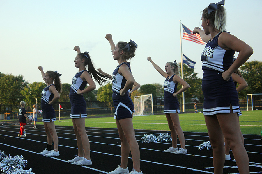 Fairmont cheerleaders lead the students to an overwhelming cheer.