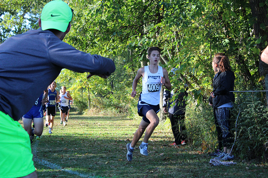 Sophomore, Brandon Brown, gains a lead in front of a group of competitors.