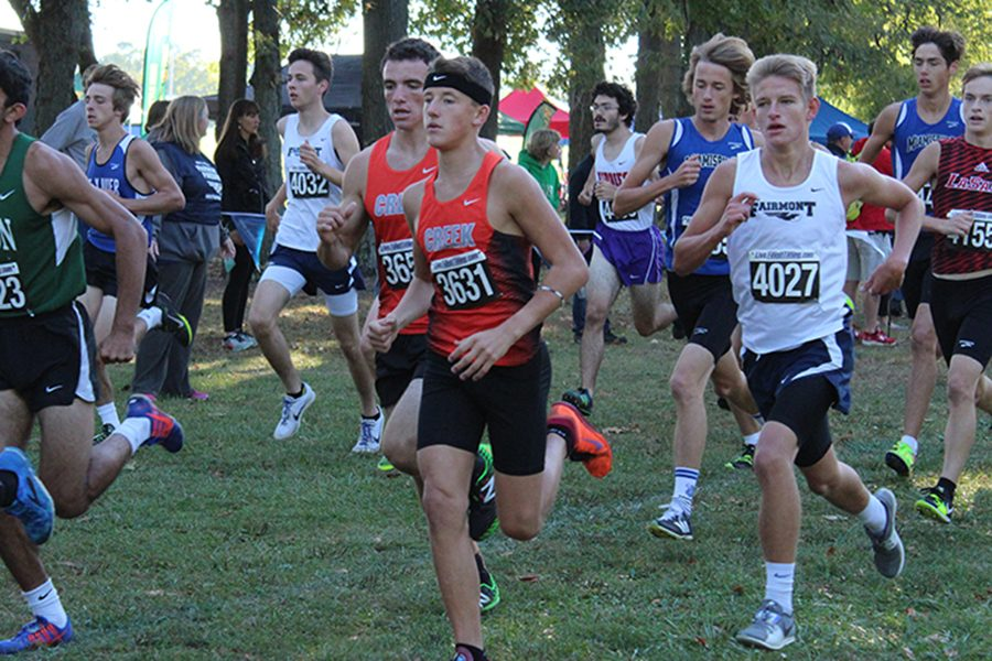Seniors, Tristan Milton and Danny Hosford, heading to overcome the compact group of competitors.