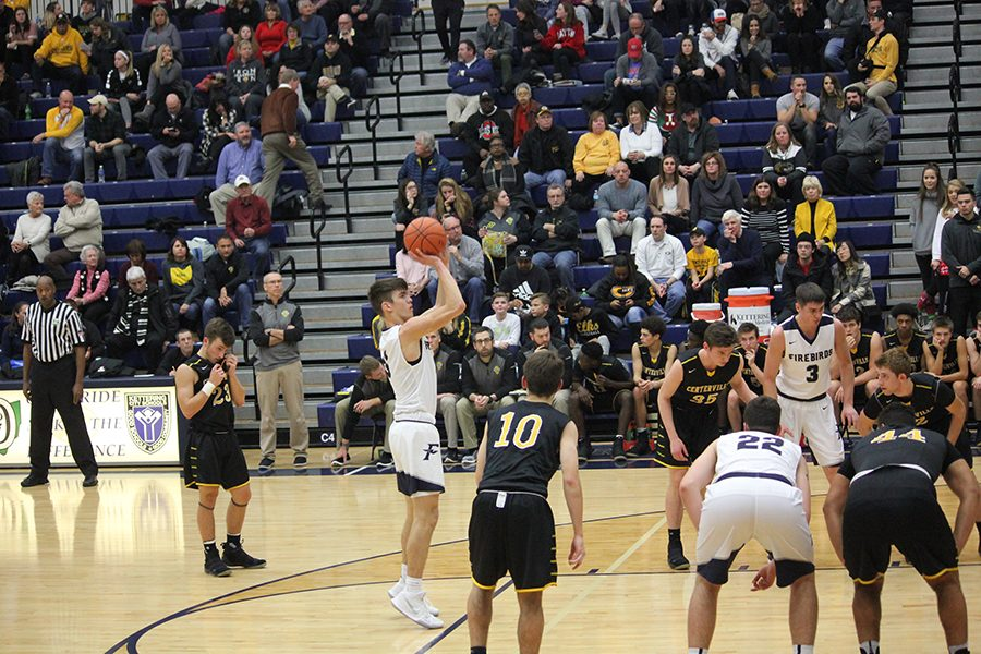 Junior, Ryan Hall goes up for a free throw.