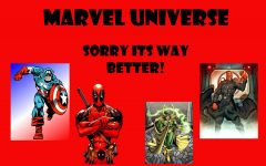 Marvel Comics hero's Deadpool and Captain America stand by Marvel's evil villains Loki and Red Skull.