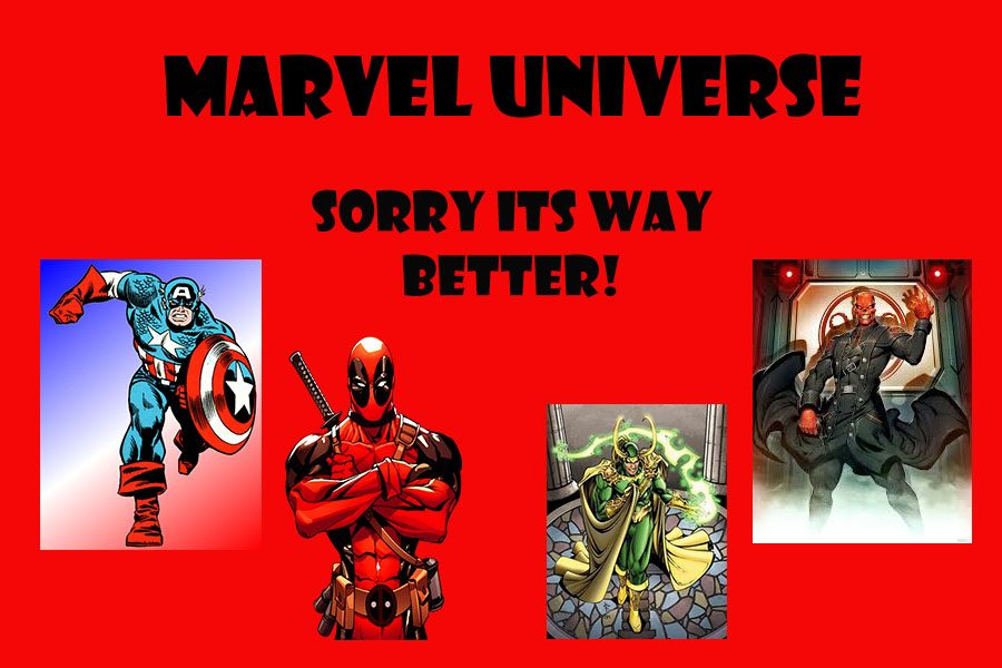 Marvel+Comics+hero%27s+Deadpool+and+Captain+America+stand+by+Marvel%27s+evil+villains+Loki+and+Red+Skull.