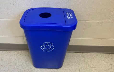 Around 100 of these blue bins are scattered throughout Fairmont High School classrooms and offices. They are emptied each Friday in unit lobbies for McManus to recycle.