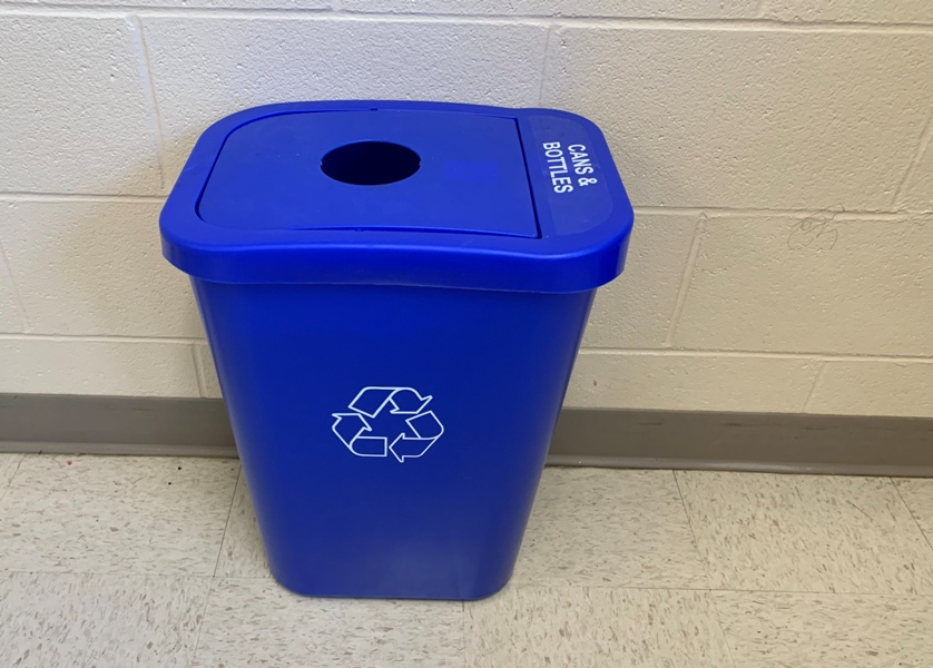 Around+100+of+these+blue+bins+are+scattered+throughout+Fairmont+High+School+classrooms+and+offices.+They+are+emptied+each+Friday+in+unit+lobbies+for+McManus+to+recycle.+
